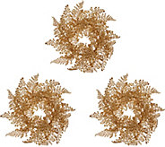 Set of 3 Glittered Leaf Maiden Hair Candle Rings by Valerie - H216374