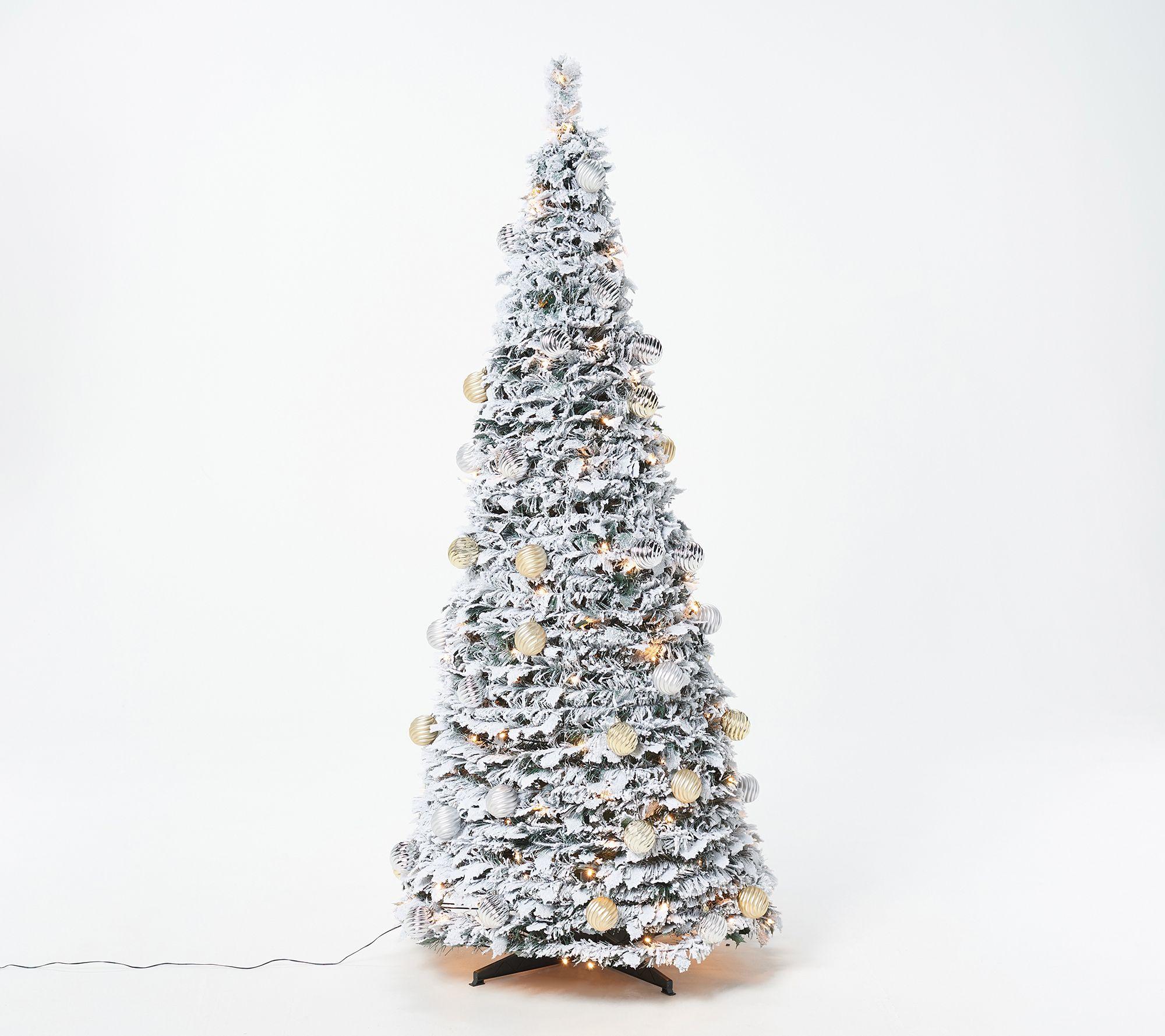 Pre Lit Pop Up Christmas Tree Uk.Barbara King 6 Flocked Pre Lit Pop Up Tree Qvc Com