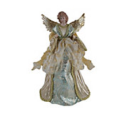 16 Aqua & Gold Angel Tree Topper by Santas Workshop - H290074