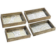 Set of 4 Greta Rectangular Glass and Wood Traysby Valerie - H298274