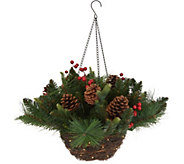 Scott Living Lit Rattan Holiday Greens Hanging Basket - H216575