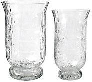 Set of 2 Glacier Glass Hurricanes by Valerie - H298276