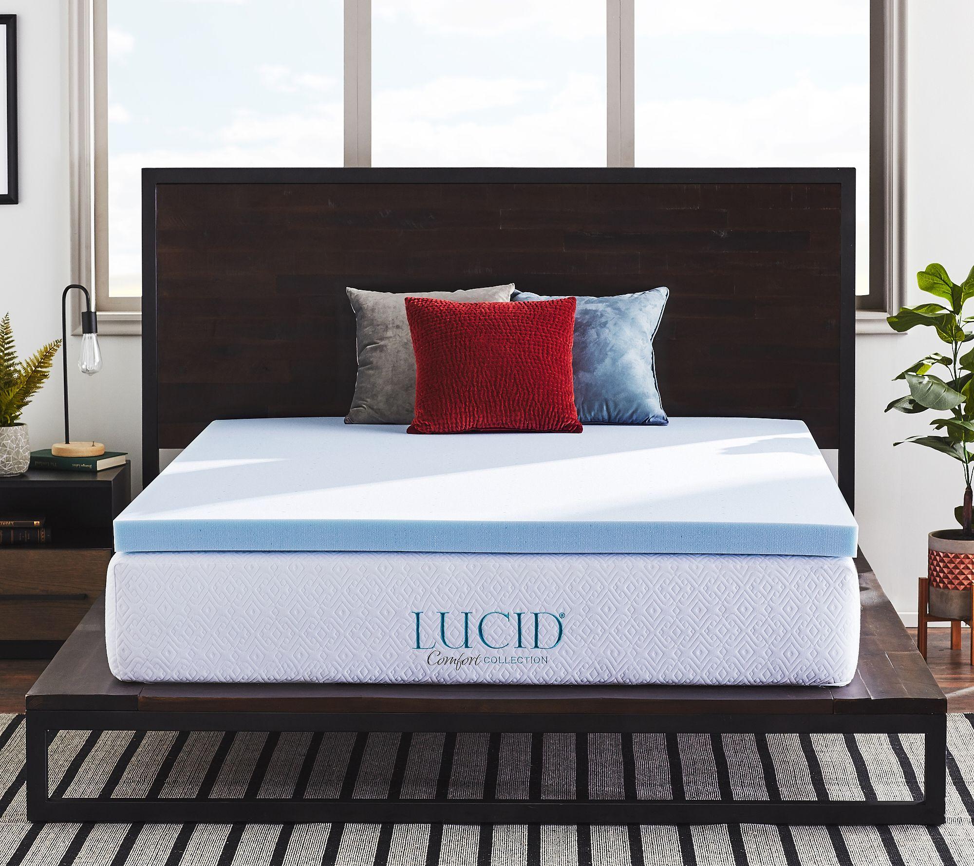 Lucid 2-inch 5-Zone Lavender Plush Memory Foam Mattress Topper Twin Full Queen K