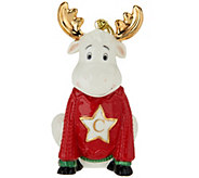 Lenox Porcelain 4 Moose Monogram Ornament w/ 24K Gold Accents - H211877