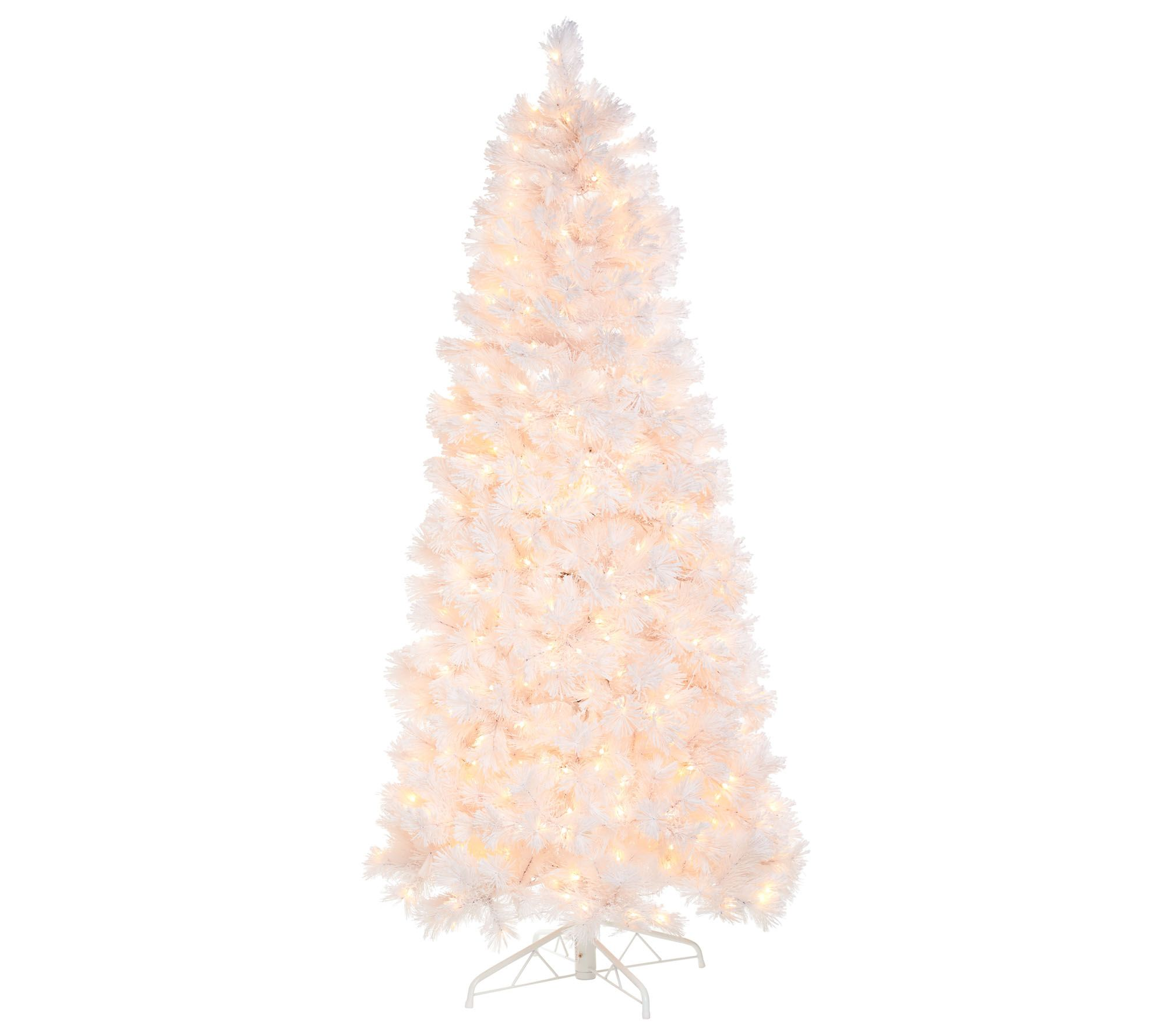 Bethlehem Lights Prelit 6 5 Slim Pine Snowy White Christmas Tree Qvc Com