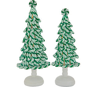 Set of 2 Illuminated Peppermint Candy Treesby
