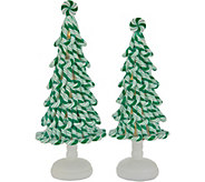 Set of (2) Illuminated Peppermint Candy Trees by Valerie - H216377