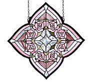 Tiffany Style Ring of Roses Window Panel - H131378