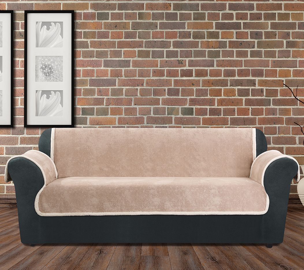 Sure Fit Vintage Leather Sofa Furniture Cover W/ Sherpa Back   Page 1 U2014  QVC.com