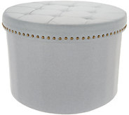 Inspire Me! Home Decor 24Round Tufted Collapsible Storage Ottoman - H213378