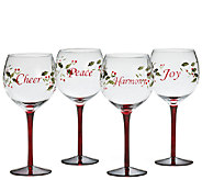 Pfaltzgraff Winterberry Set of 4 Wine Glasses with Sentiments - H284878