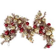 4 Red & Gold Vintage Ornament Garland - H209579