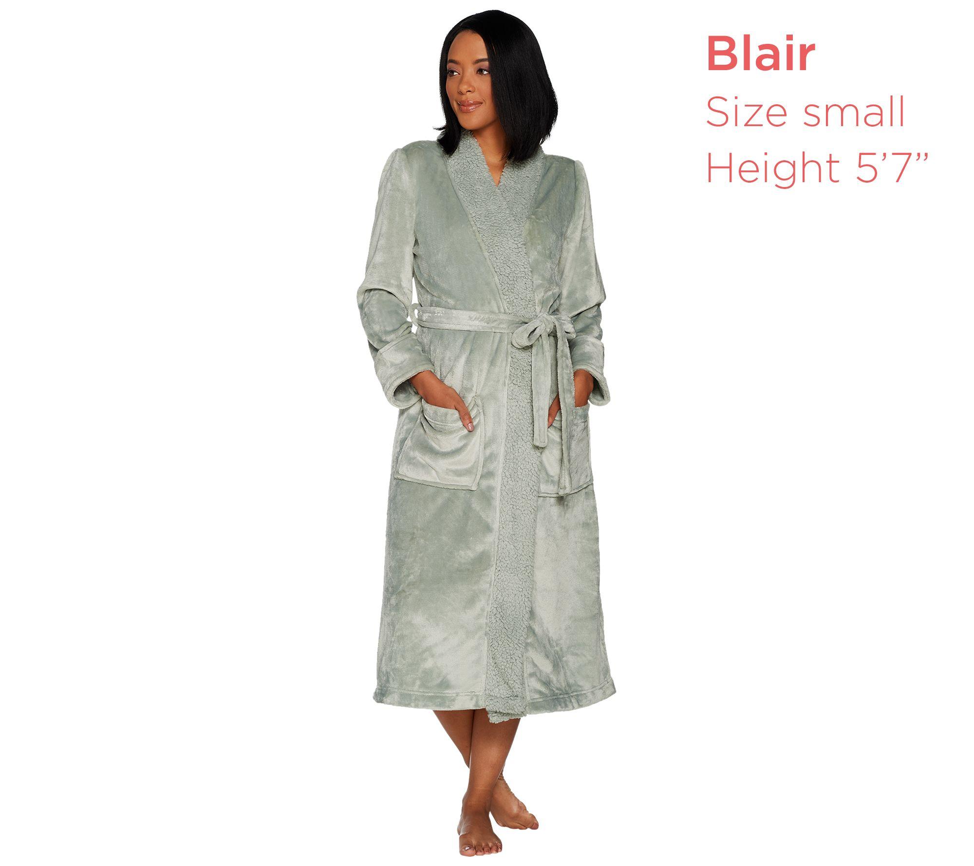 Velvet Soft Full Length Robe with Sherpa Collar by Berkshire — QVC.com 30d3b72de