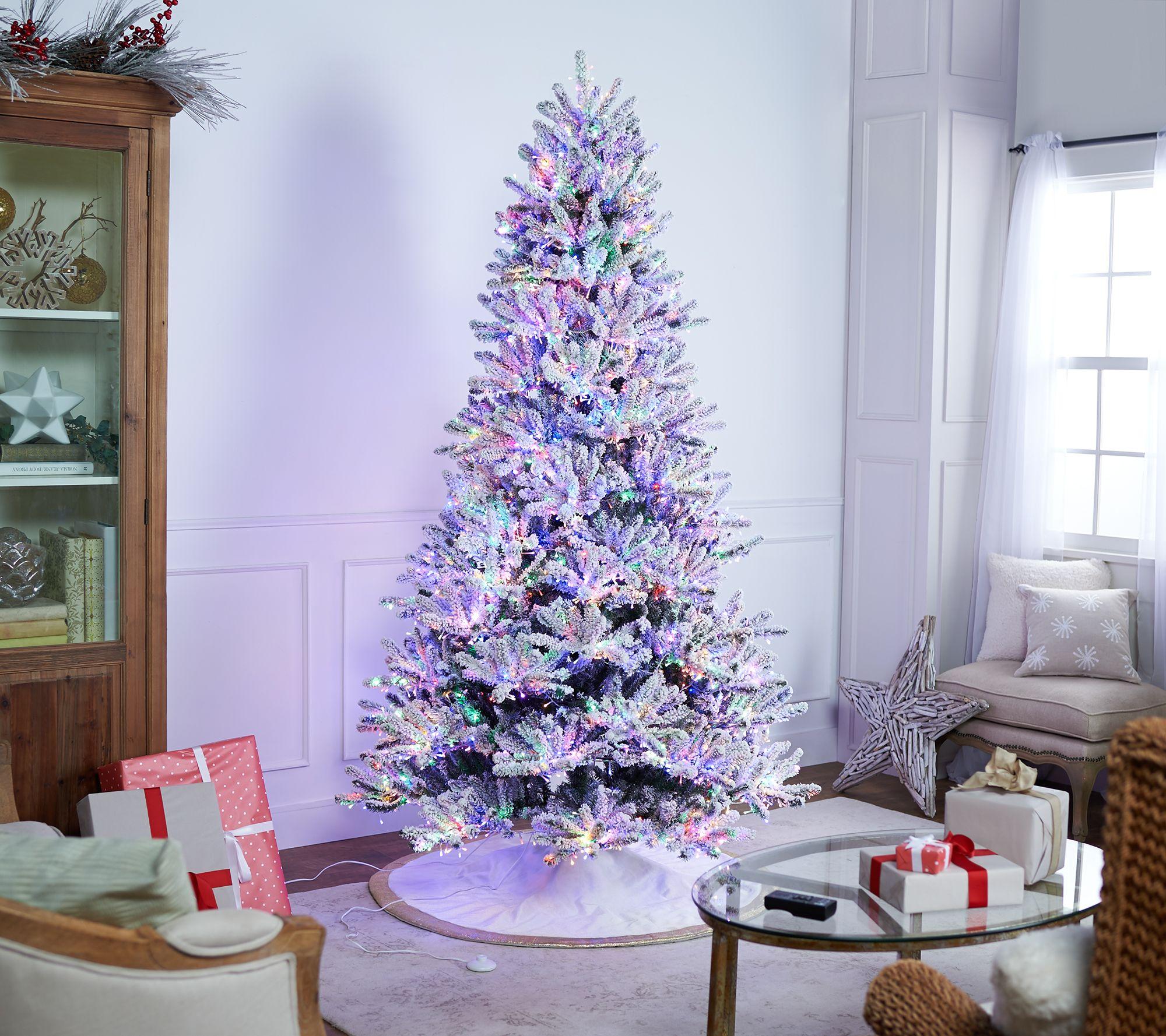 Santas Best Starry Light 75 Flocked Multi Function Microlight Tree Qvccom