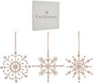 Casa Zeta-Jones Set of 3 Boxed Beaded Snowflake Ornaments - H216079