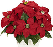 Poinsettia in White Wash Planter Arrangement byNearly Natural - H292779