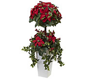 4 Poinsettia Berry Topiary in Planter by Nearly Natural - H302679