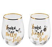 Celebrations by Mikasa Set of 2 Jingle & HollyWine Glasses - H306579