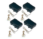 Set of 4 20-Light Micro Light Strands w/Timer by Valerie - H205480
