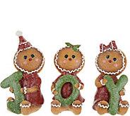 Set of 3 Gingerbead Children Holding Joy by Valerie - H211580