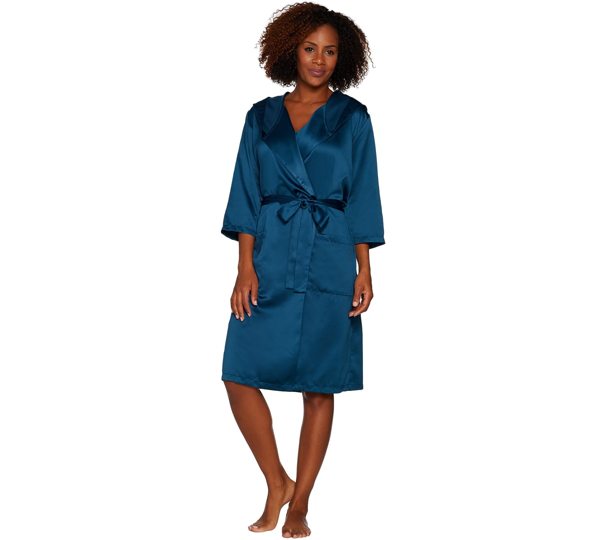 d280a8bdae Casa Zeta-Jones Faux Silk Robe with Hood - Page 1 — QVC.com