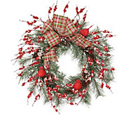 Cardinal and Berry 22 Wreath with Plaid Bow by Valerie - H216480