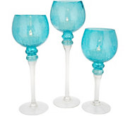 Set of 3 Crackle Glass Goblets with Tealights by Valerie - H217880