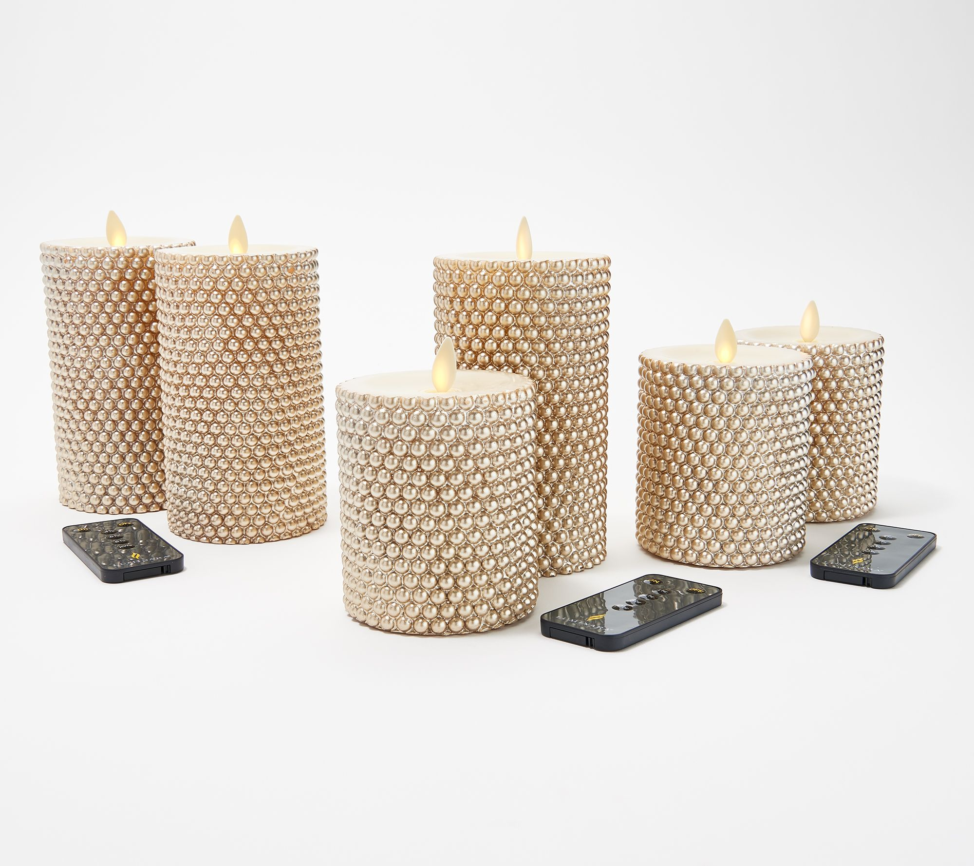 Luminara Set of (2) Pearl Encrusted Pillar Candles with Remote — QVC com