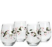 Pfaltzgraff Winterberry Set of 4 Stemless WineGlasses - H284880