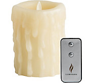 Luminara 5 Heavy Wax Drip Flameless Candle with Remote - H292380