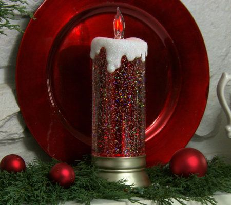 As Is 11 Lit Glitter Candle With Flickering Tip By Valerie Page 1 Qvc Com