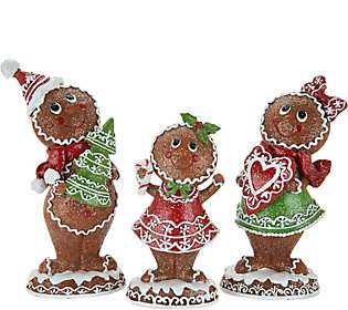 3 Piece Gingerbread Family Sugared Figuresby Valerie
