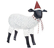 Plow & Hearth Oversized Metal Sheep with Hat and Scarf Details - H215881