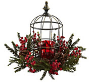 Pine Berry Birdhouse Candelabrum by Nearly Natural - H300981