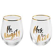 Celebrations by Mikasa Set of 2 Mr. & Mrs. WineGlasses - H306581