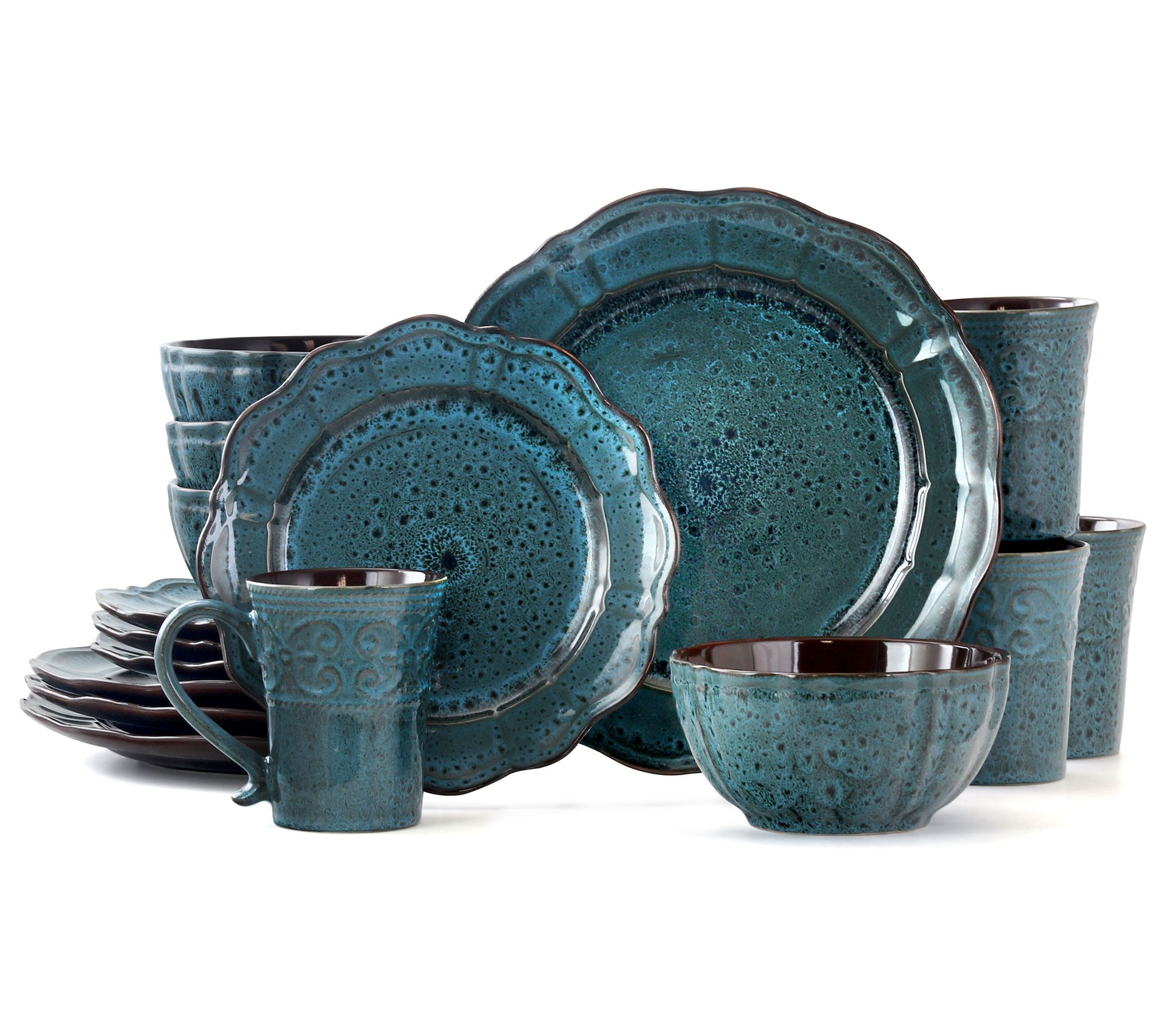 Elama Lavish Blue 16 Piece Stoneware Dinnerwareset Qvc Com