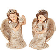 Set of 2 Vintage Angels Holding Animals by Valerie - H211582