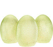 Set of (3) 6 Illuminated Ribbed Mercury Glass Eggs by Valerie - H213782