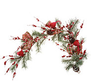 Cardinal and Berry 4 Garland with Plaid Bows by Valerie - H216482