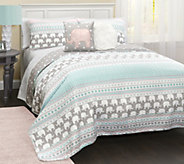 Elephant Stripe 5-Piece Full/Queen Quilt Set byLush Decor - H290582