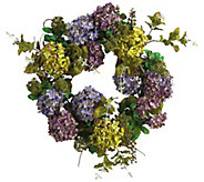 24 Mixed Hydrangea Wreath by Nearly Natural - H295582