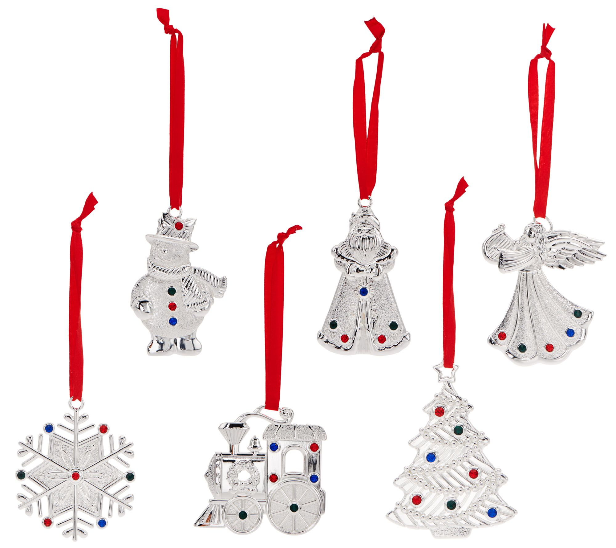lenox set of 6 silver plated crystal gem charm ornaments in gift boxes page 1 qvccom - Silver Plated Christmas Tree Decorations