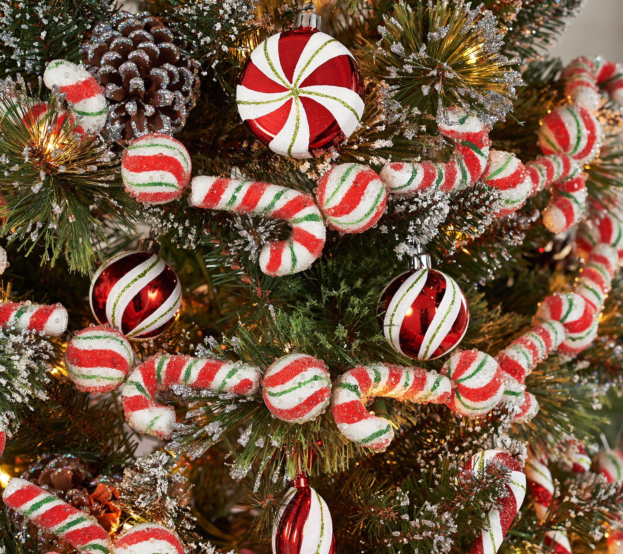 6 beaded candy cane and peppermint garland by valerie page 1 qvccom