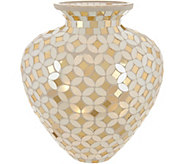 Mosaic Glass Curved Vase w/ Microlights and Timer by Valerie - H216683