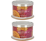 HomeWorx by Harry Slatkin Set of 2 Fall Chrysanthemums 4-Wick Candles - H216983