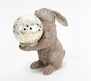 Indoor/Outdoor Bunny Holding Illuminated Mosaic Sphere - H218483