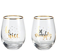 Celebrations by Mikasa Set of 2 Naughty & NiceWine Glasses - H306583