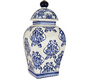 12 Illuminated Square Damask Porcelain Urn by Valerie - H211684