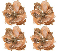 Set of (4) Glittered Magnolia Clips by Valerie - H216684