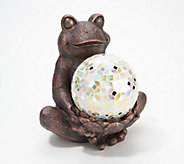Indoor/Outdoor Frog Holding Illuminated Mosaic Sphere - H218484